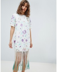 ASOS DESIGN Embroidered Midi Dress With Fringe