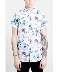 Topman Classic Fit Short Sleeve Floral Print Shirt
