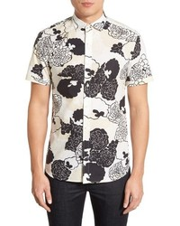 Kent And Curwen Kent Curwen Trim Fit Short Sleeve Floral Print Sport Shirt