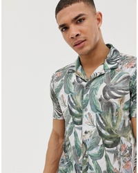Burton Menswear Revere Collar Shirt With Floral Print In White