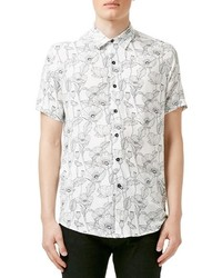 Topman Slim Fit Short Sleeve Poppy Print Shirt