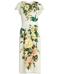 Dolce & Gabbana Floral Print Silk Blend Charmeuse Midi Dress