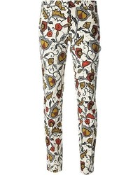 White Floral Skinny Pants