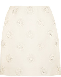 Valentino Floral Appliqud Wool And Silk Blend Crepe Mini Skirt Ivory