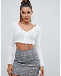 PrettyLittleThing Cropped Fluffy Knit Cardigan In Cream