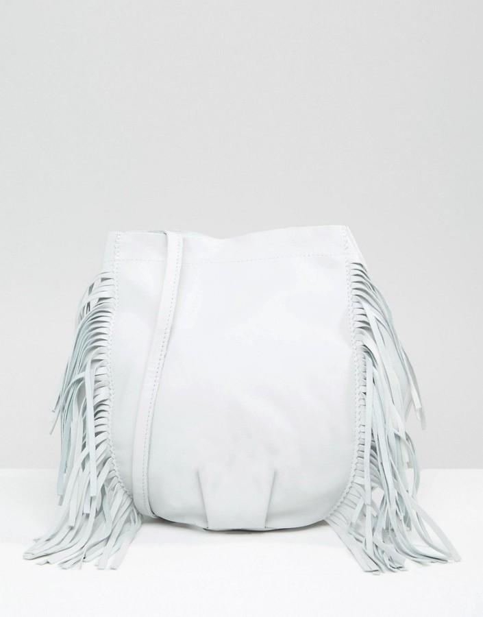 Leather Fringed Bucket Bag