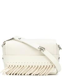 White Fringe Leather Clutch