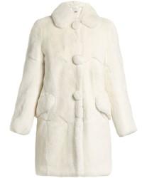 Round collar rabbit fur coat medium 972219