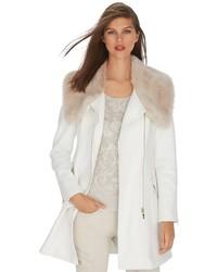 White Fur Collar Coat