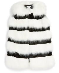 Little Marc Jacobs Girls Stripe Faux Fur Vest