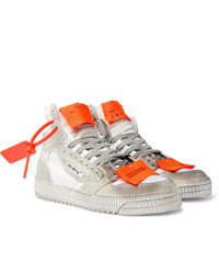 Off-White Off Court 30 Distressed Suede Leather And Canvas High Top Sneakers