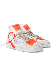 Off-White Off Court Distressed Suede Leather And Canvas High Top Sneakers