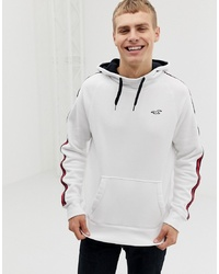 Hollister Side Taping Seagull Logo Hoodie In White
