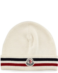 White Horizontal Striped Beanie