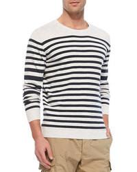 White Horizontal Striped Crew-neck Sweater
