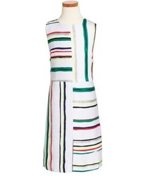 White Horizontal Striped Dress