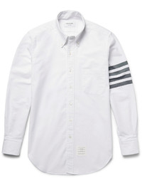 White Horizontal Striped Dress Shirt