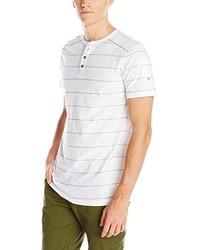White Horizontal Striped Henley Shirt