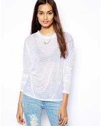 Glamorous Oversize Self Stripe Tshirt With Long Sleeve