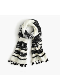 White Horizontal Striped Scarf