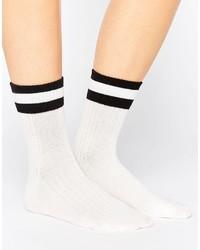 Monki Varsity Stripe Ankle Sock