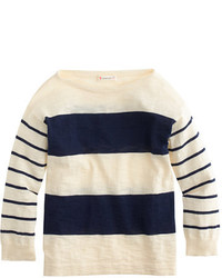 J.Crew Girls Sweater In Navy Double Stripe