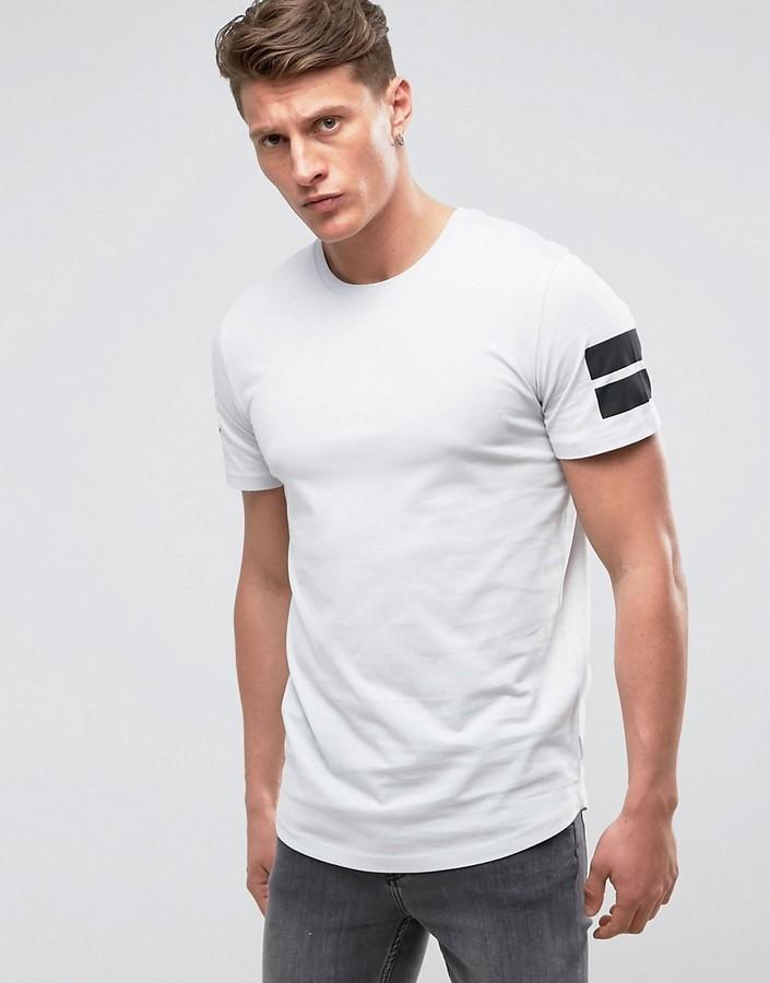 huge discount 41e4f 7653a £15, Jack and Jones Jack Jones Core Longline T Shirt With Curved Hem And  Arm Stripes