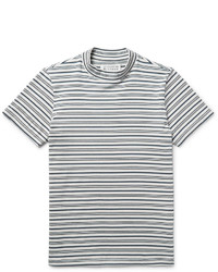 Maison Margiela Striped Cotton Mock Neck T Shirt