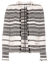 IRO Zlata Striped Cotton Blend Tweed Jacket Ivory