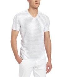 White Horizontal Striped V-neck T-shirt