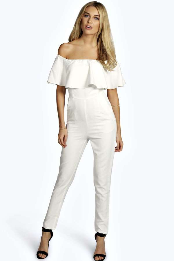 Boohoo Boutique Taylor Frill Off The Shoulder Jumpsuit | Where to ...