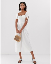 ASOS DESIGN Square Neck Jumpsuit With Tie Sleeve