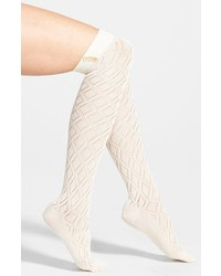 Pact pointelle organic cotton over the knee socks medium 126441