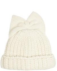 Federica Moretti Bow Detail Knitted Beanie Hat
