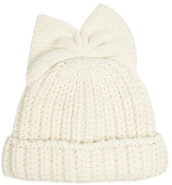 Federica Moretti Bow Detail Knitted Beanie Hat
