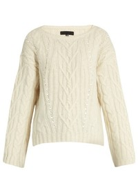 Nili Lotan Ryder Cable Knit Alpaca Blend Sweater