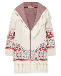 Philosophy di Lorenzo Serafini Hooded Tasseled Cotton Blend Jacquard Cardigan