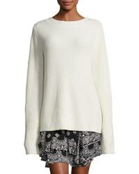 Markell ribbed wool cashmere sweater white medium 1210600