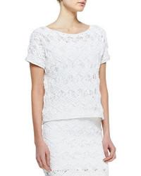 White Knit Short Sleeve Blouse