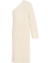 Stella McCartney Asymmetric Ribbed Knit Wool Blend Sweater Dress