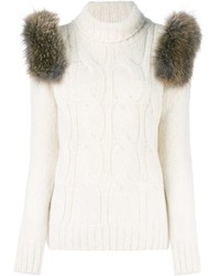Forte couture turtleneck cable knit sweater medium 842072