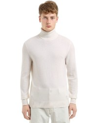 White Knit Wool Turtleneck
