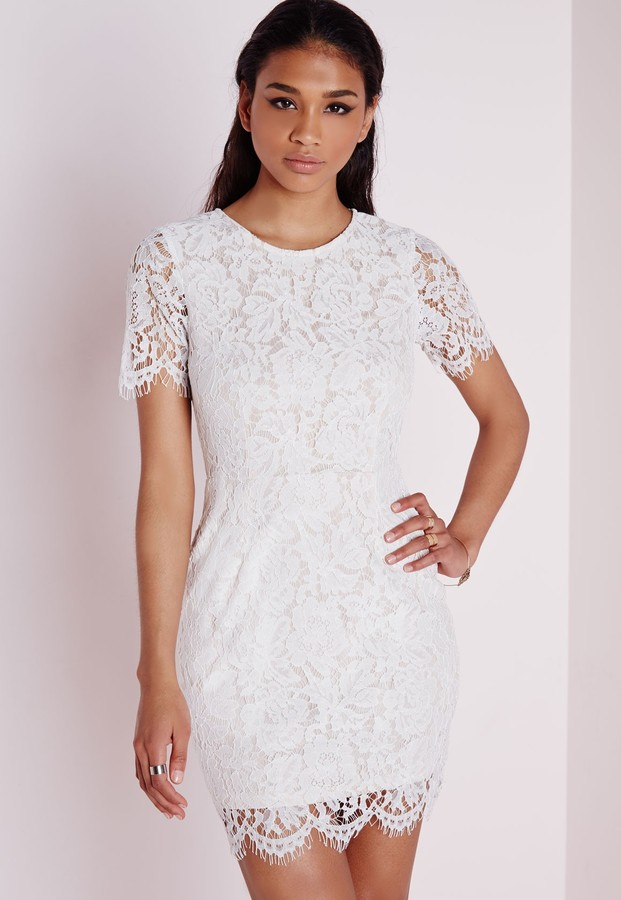 White Lace Dress with Short Sleeves