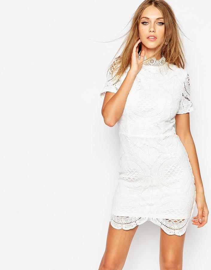 59 Missguided Premium White Scallop Lace Dress