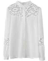 White Lace Button Down Blouse