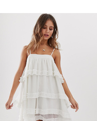 White Sand Tiered Mini Dress In Ivory