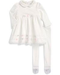 Little Me Dot Shine Peter Pan Collar Dress Tights Set