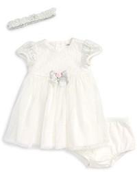 Little Me Lace Shimmer Dress Headband Set