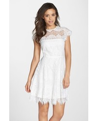 White Lace Fit and Flare Dress