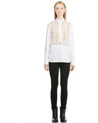 Valentino Lace Inset Band Collar Blouse